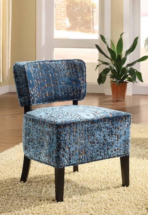 Armen Living St Croix Armless Club Chair In A Blue Velvet Fabric