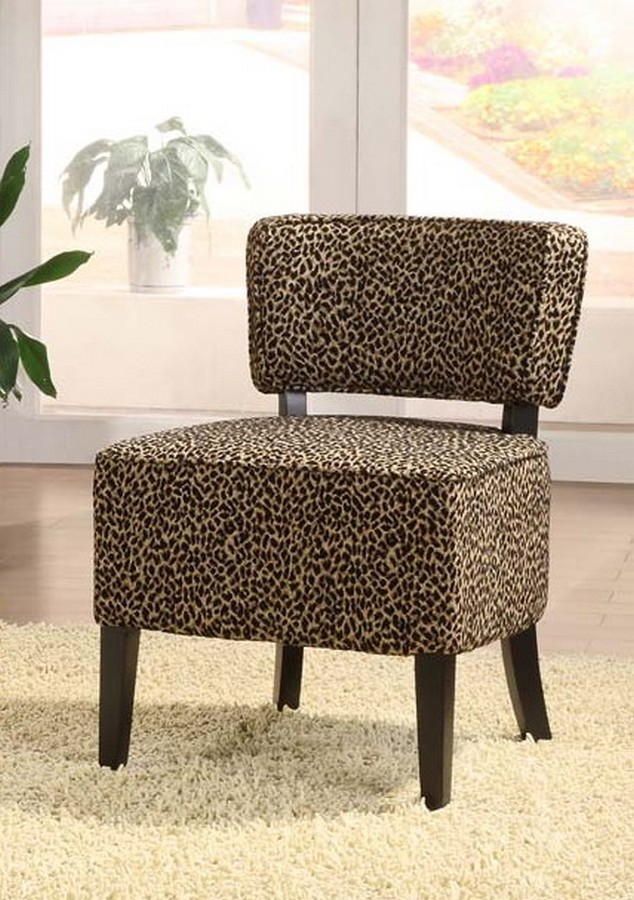 Armen Living St Croix Armless Club Chair In A Leopard Chenille Fabric