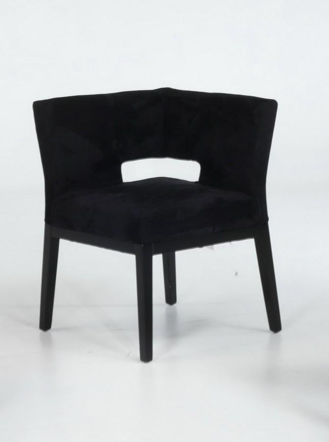 Armen Living Micro Fiber Corner Chair - Black