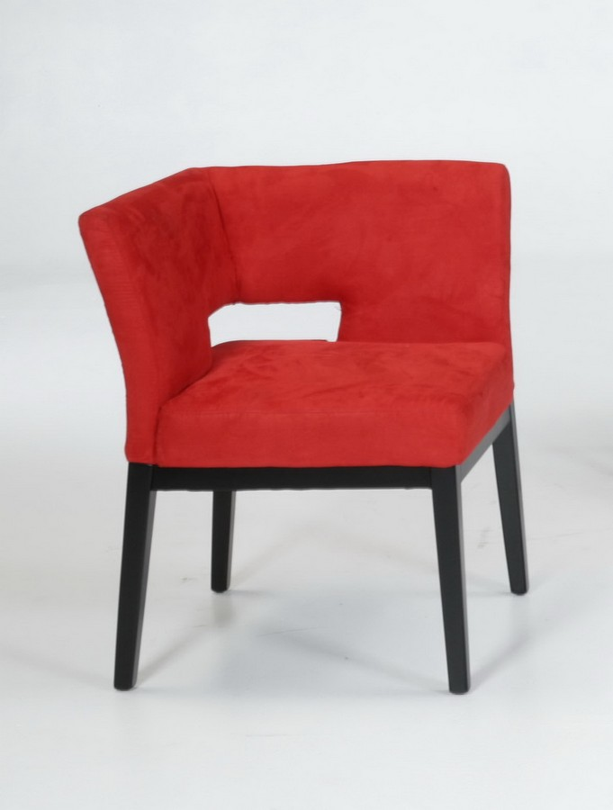 Armen Living Micro Fiber Corner Chair - Red
