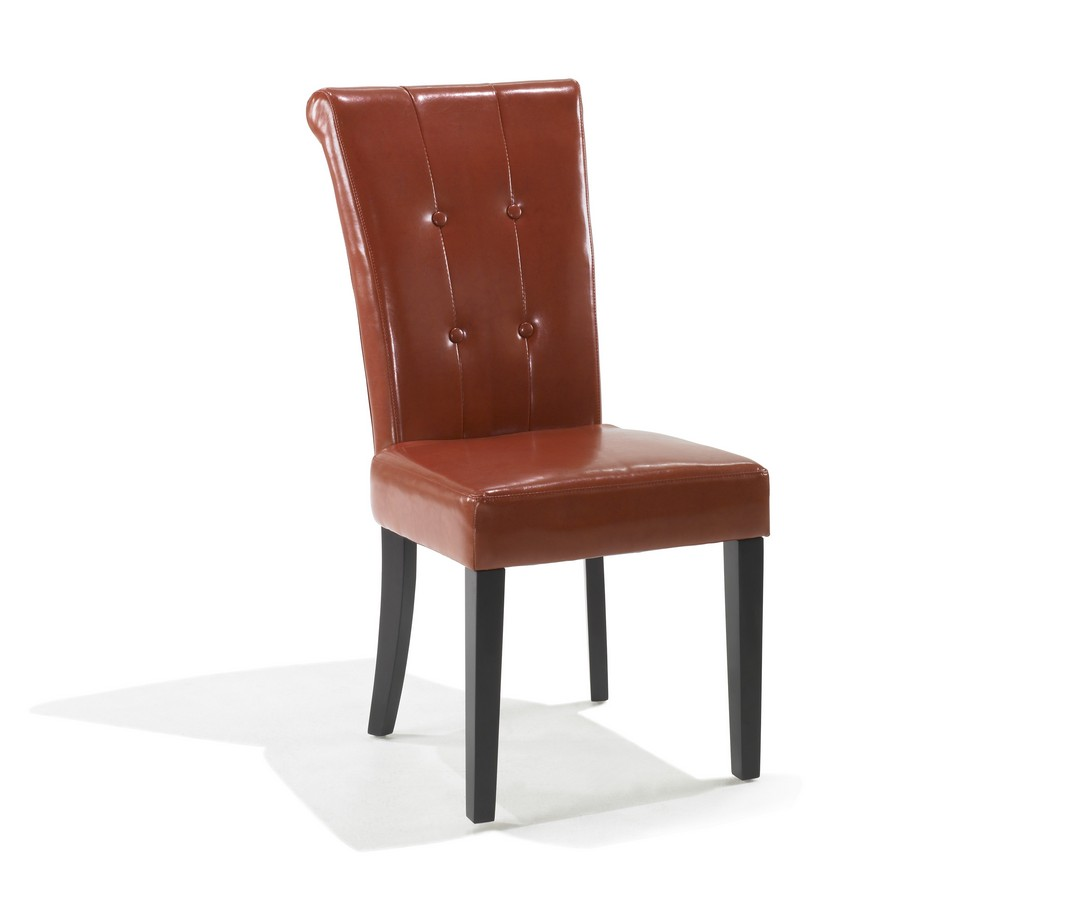 Armen Living Tuxford Burnt Orange Leather Tufted Side Chair