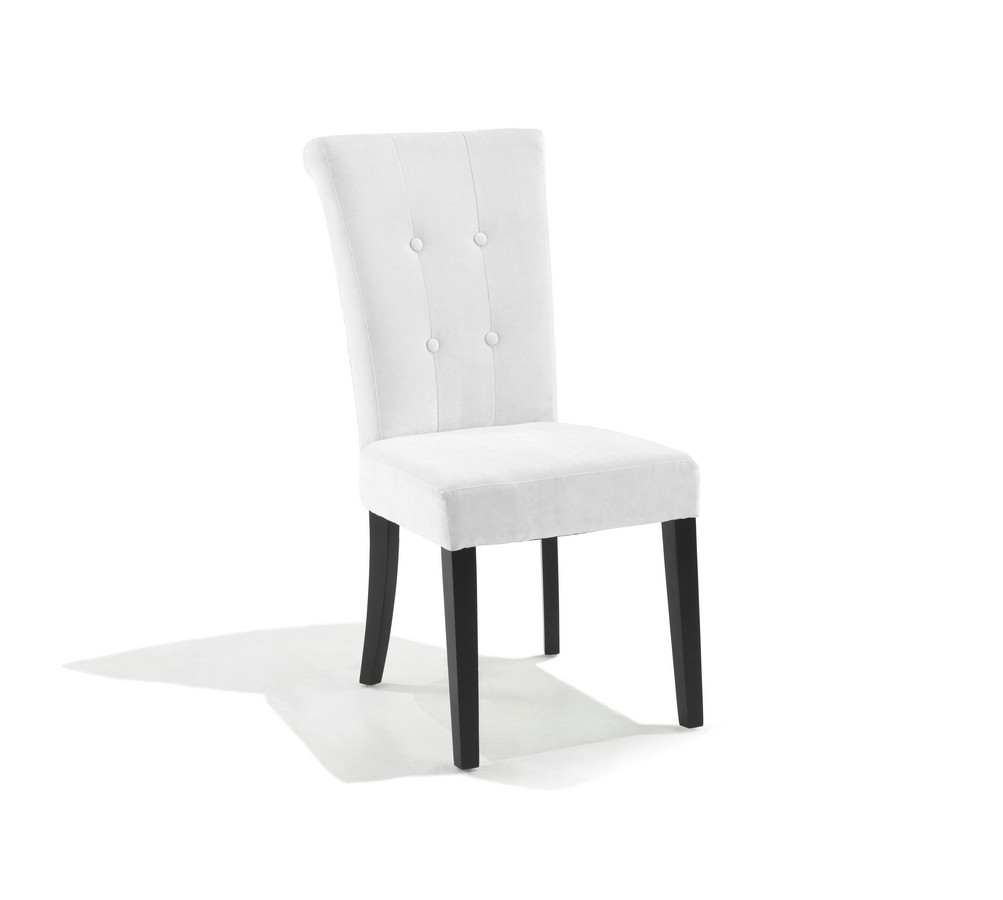 Armen Living Tuxford Tufted Off White Fabric Side Chair