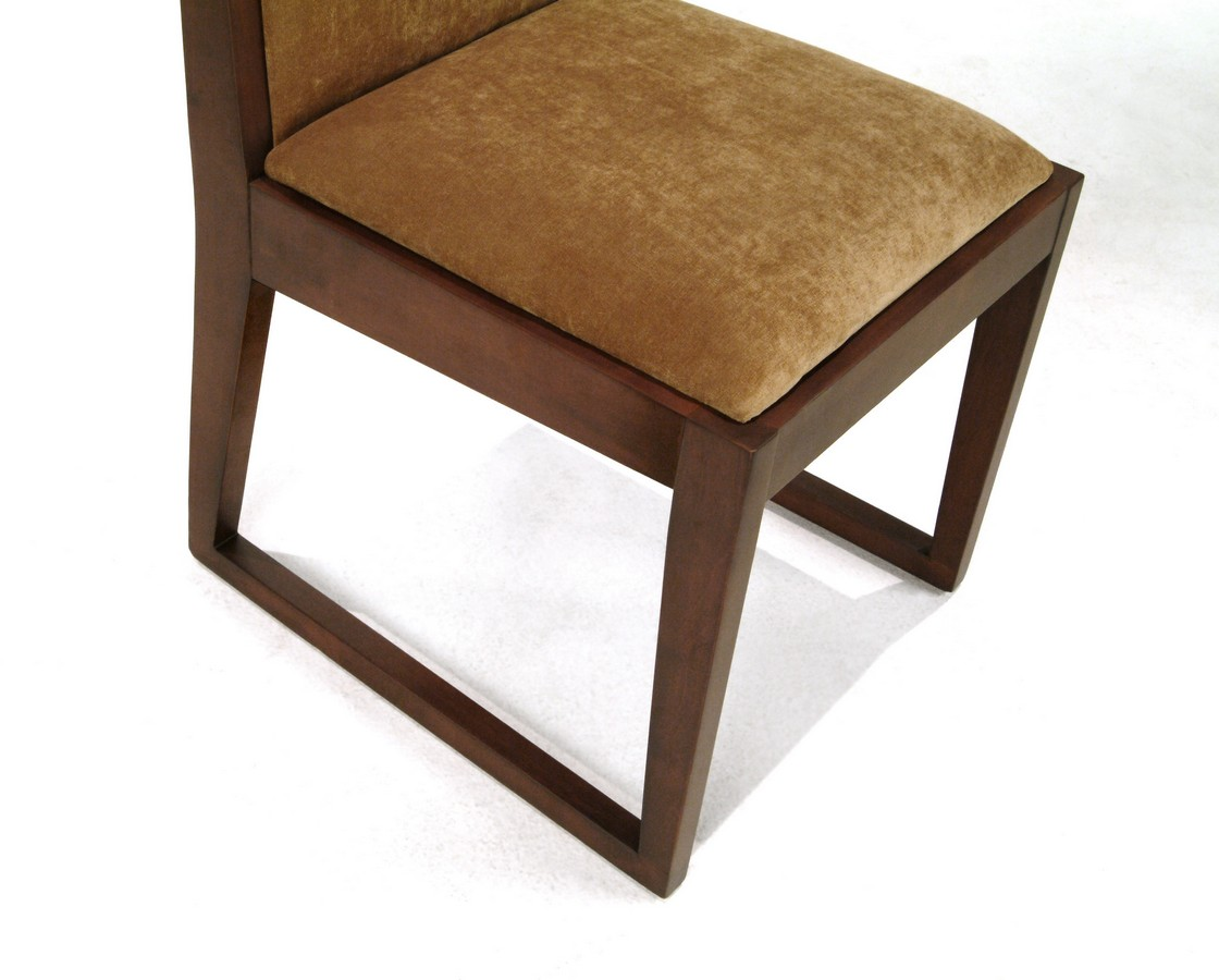 Armen Living Obliq - Tobacco Color Fabric Side Chair - Walnut Frame