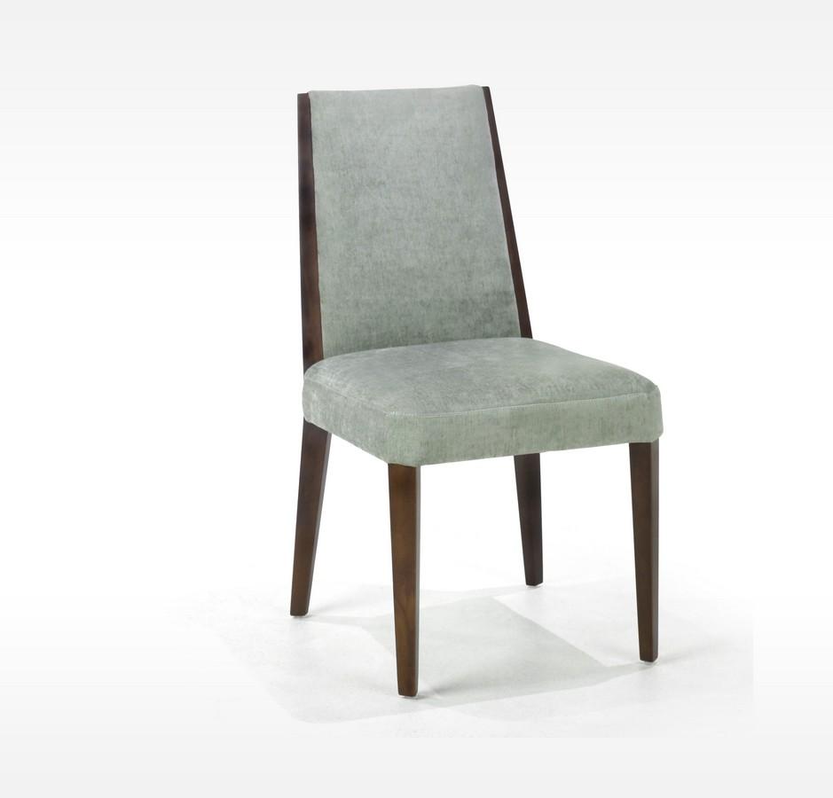 Armen Living Neo - Lagoon Color Fabric Side Chair - Walnut Frame