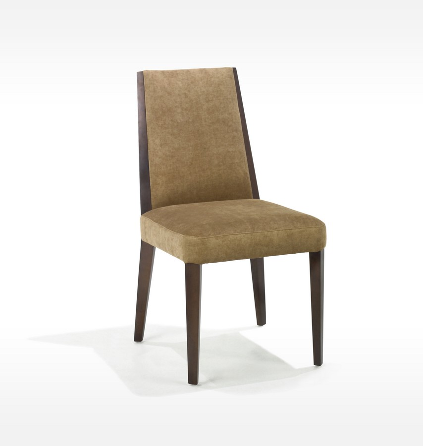 Armen Living Neo - Tobacco Color Fabric Side Chair - Walnut Frame