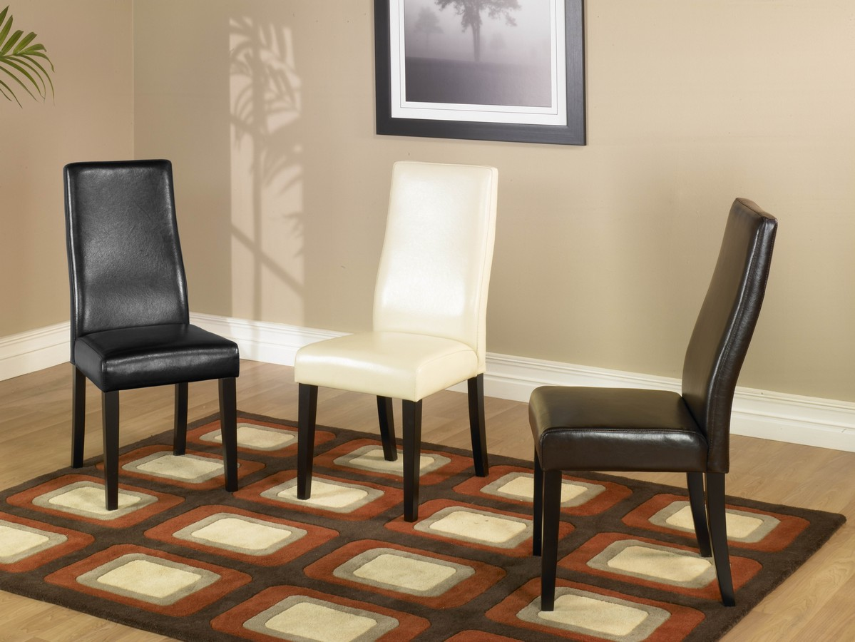 Armen Living Black Leather Side Chair