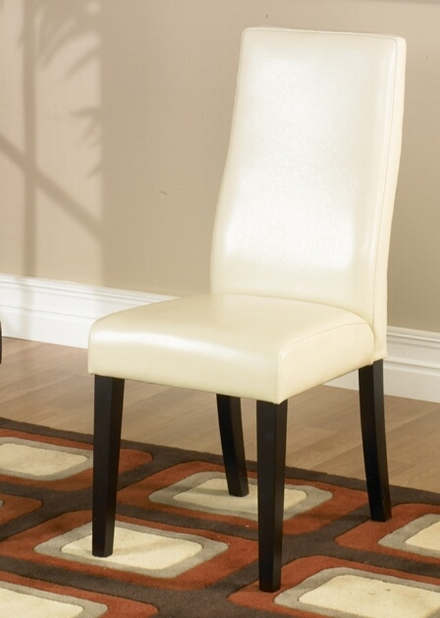 Armen Living Cream Leather Side Chair