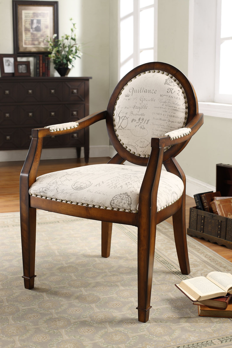 Armen Living Marseilles Chair - Vintage French Fabric