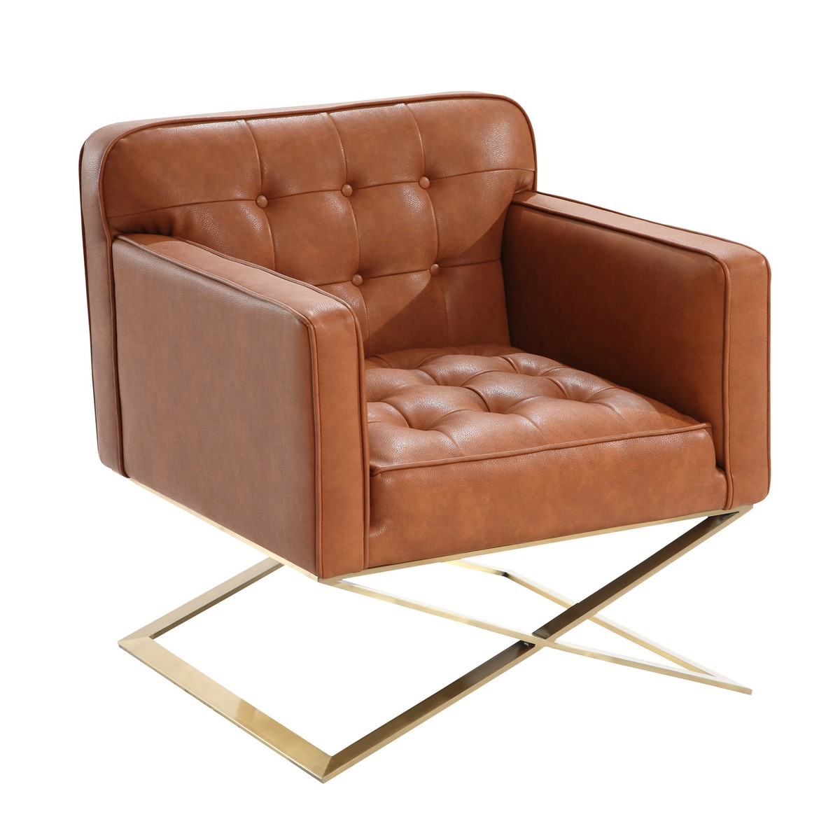 Armen Living Chilton Modern Chair In Brown and Gold Finish