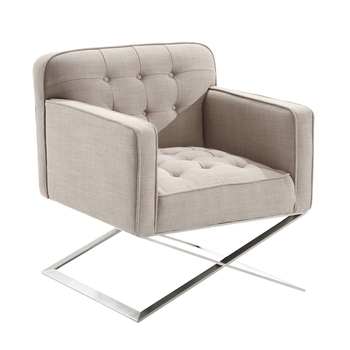 Armen Living Chilton Modern Chair In Gray Fabric and Steel Finish