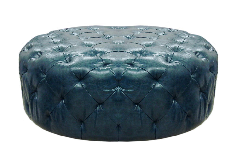 Armen Living Victoria Ottoman - Ocean Blue Bonded Leather