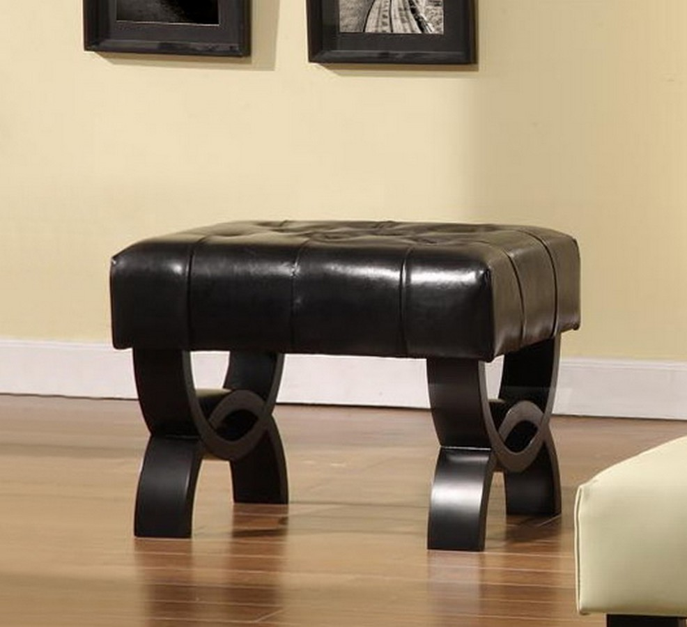 Armen Living Central Park 24-inch Tufted Black Leather Ottoman