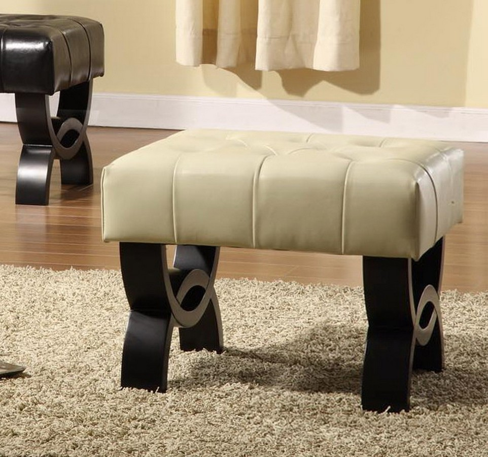 Armen Living Central Park 24-inch Tufted Cream Leather Ottoman