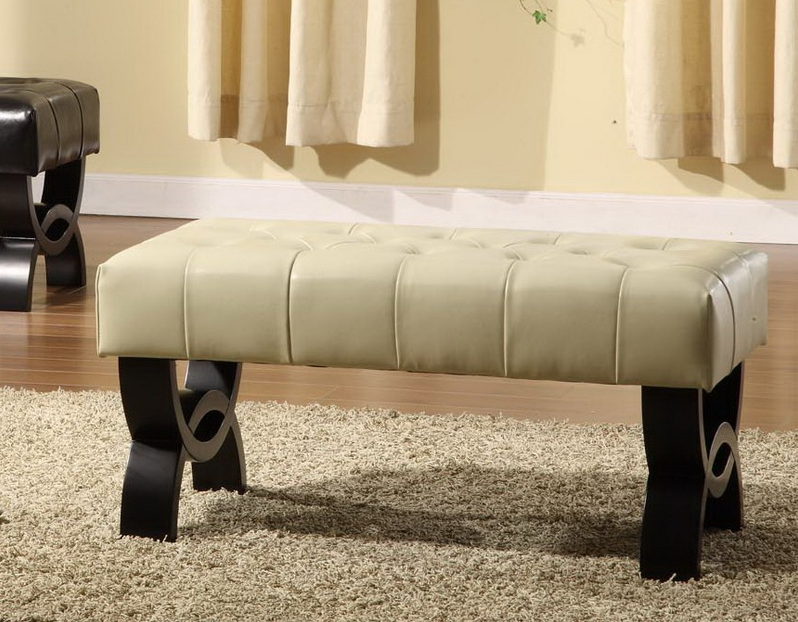 Armen Living Central Park 36-inch Tufted Cream Leather Ottoman
