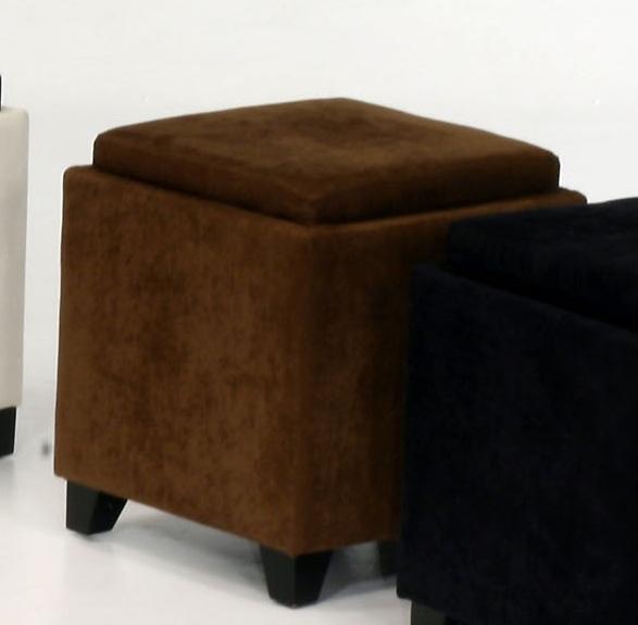 Armen Living Micro Fiber Storage Ottoman - Brown
