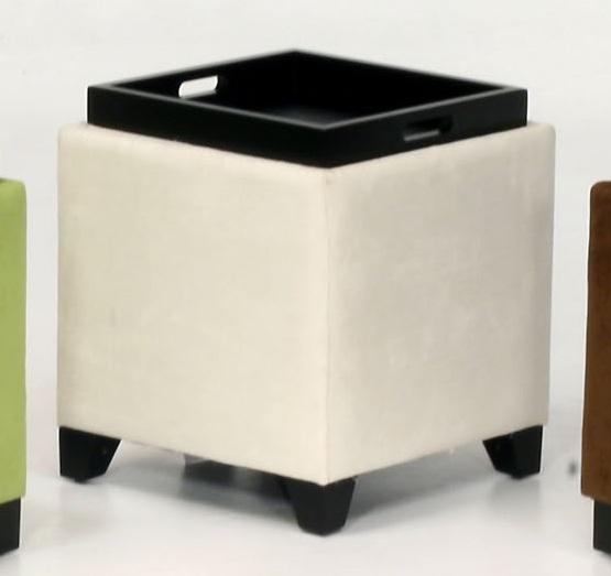 Armen Living Micro Fiber Storage Ottoman - Cream