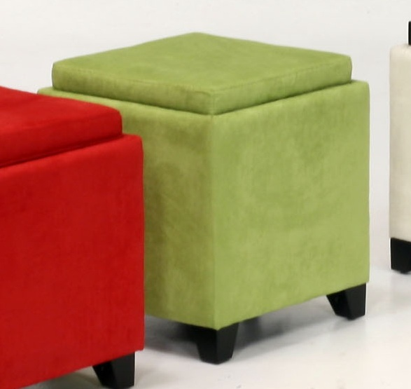 Armen Living Micro Fiber Storage Ottoman - Green