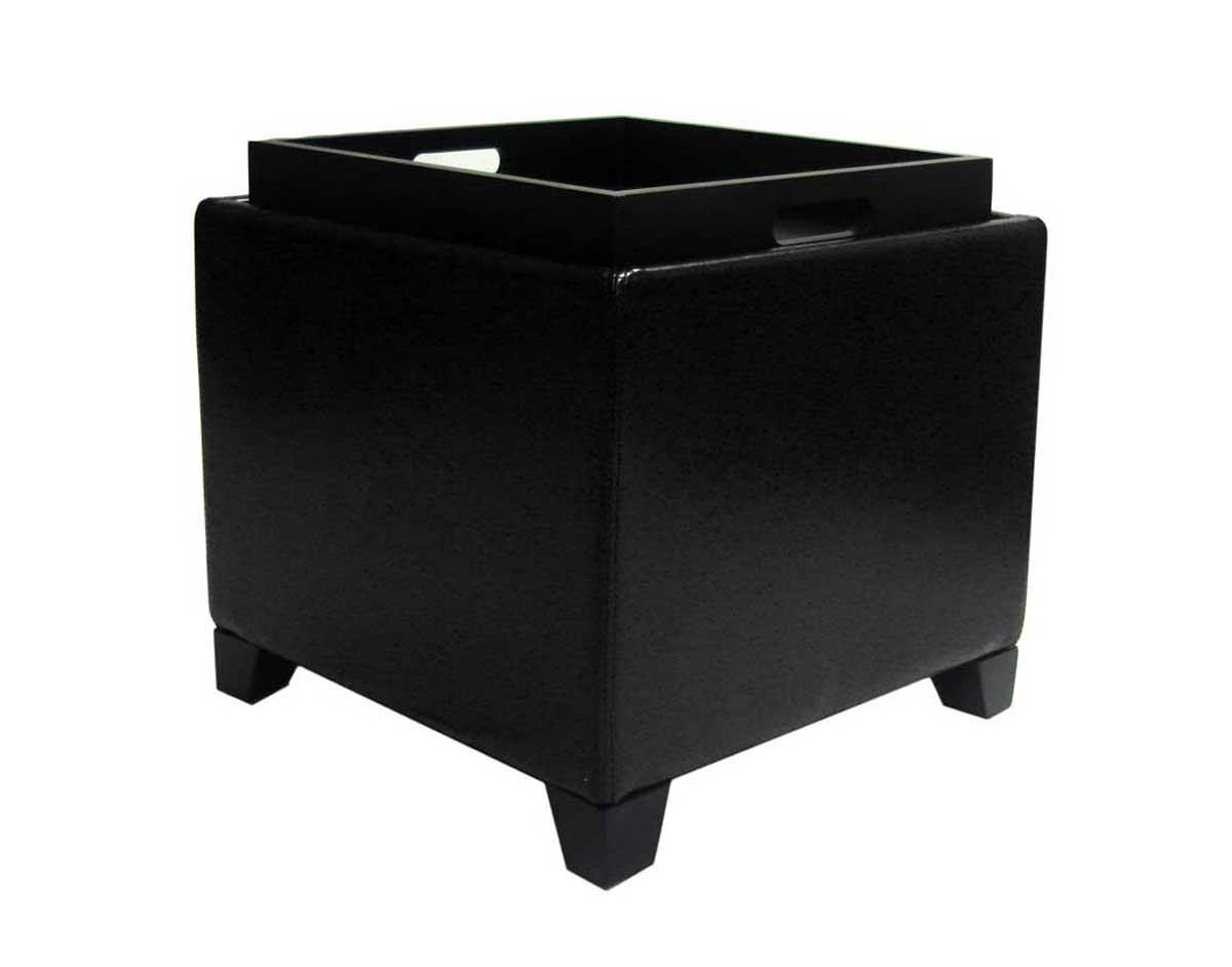 Armen Living Contemporary Storage Ottoman with Tray - Black