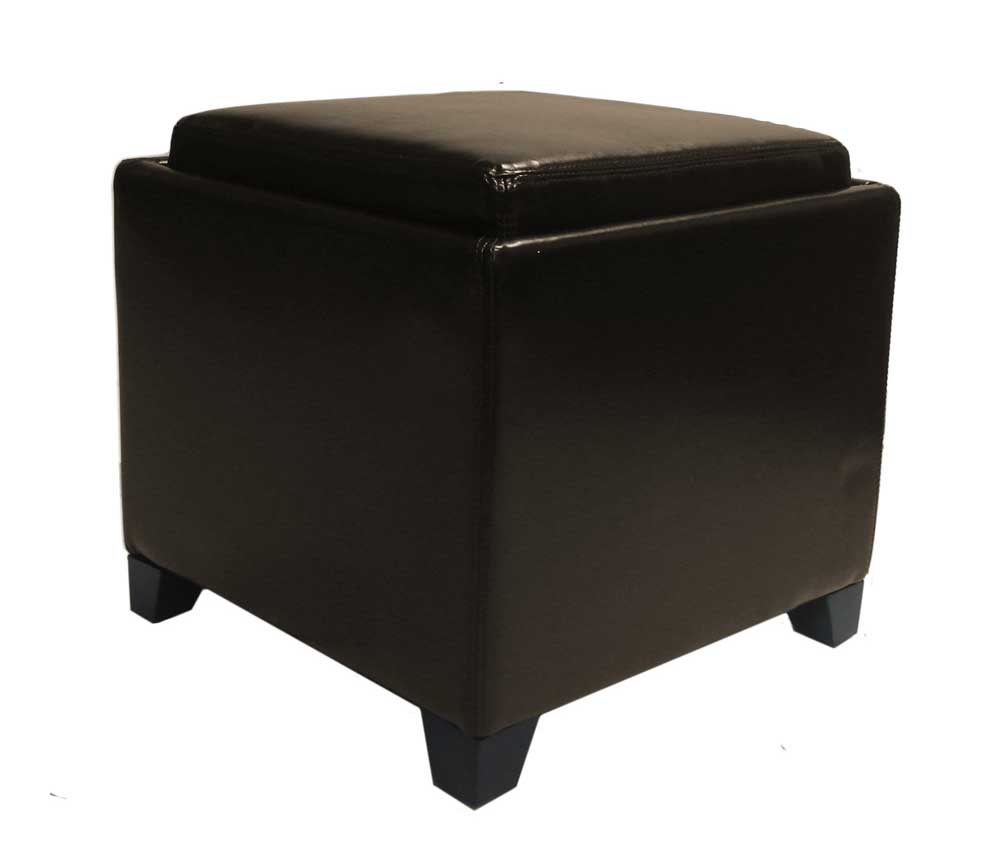 Armen Living Contemporary Storage Ottoman With Tray   Brown