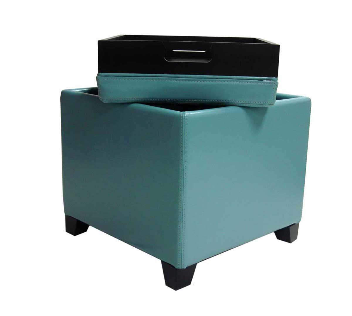 armen living contemporary storage ottoman with tray  sky blue al  - armen living contemporary storage ottoman with tray  sky blue