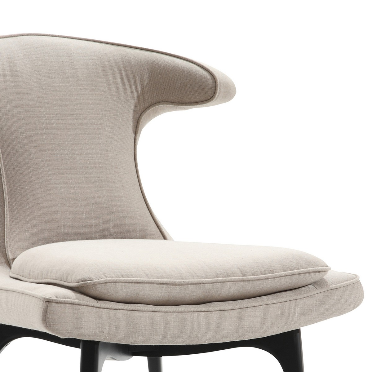 Armen Living Aria Modern Chair In Taupe Fabric and Black Wood