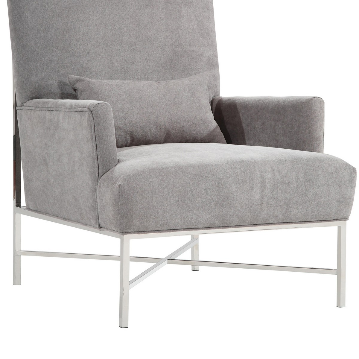 Armen Living York Contemporary Accent Chair In Gray Chenille and Steel Finish