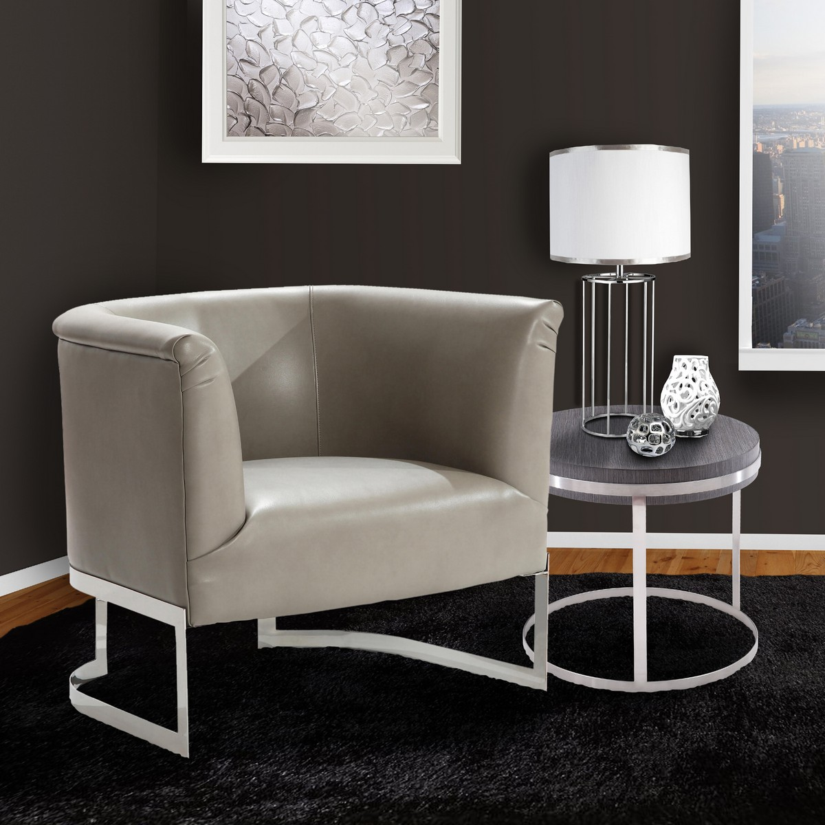 Armen Living Elite Contemporary Accent Chair In Smoke and Steel Finish