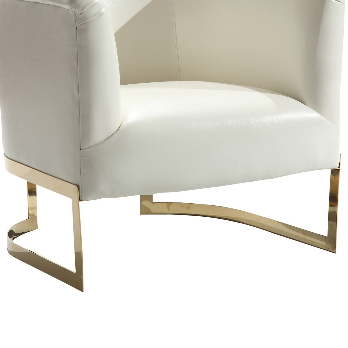 Armen Living Elite Contemporary Accent Chair In White and Gold Finish