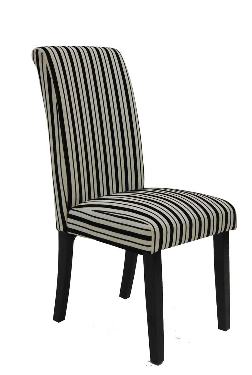 Armen Living Tuxedo Stripes Side Chair - Black/White