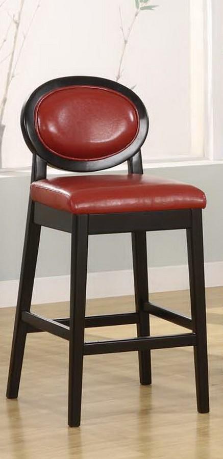 Armen Living Martini 26in Stationary Barstool - Red Leather - Black Legs