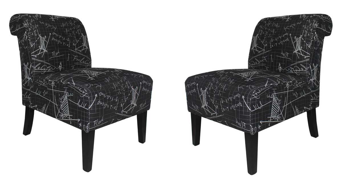 Armen Living Modern Architectural Fabric Accent Chairs - Black