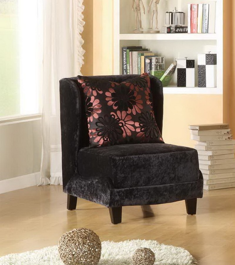 Armen Living Hampton Club Chair In A Black Velvet Fabric And Coordinating Pillow