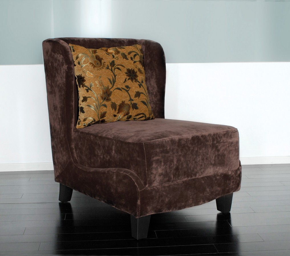 Armen Living Hampton Club Chair In A Brown Velvet Fabric And Coordinating Pillow