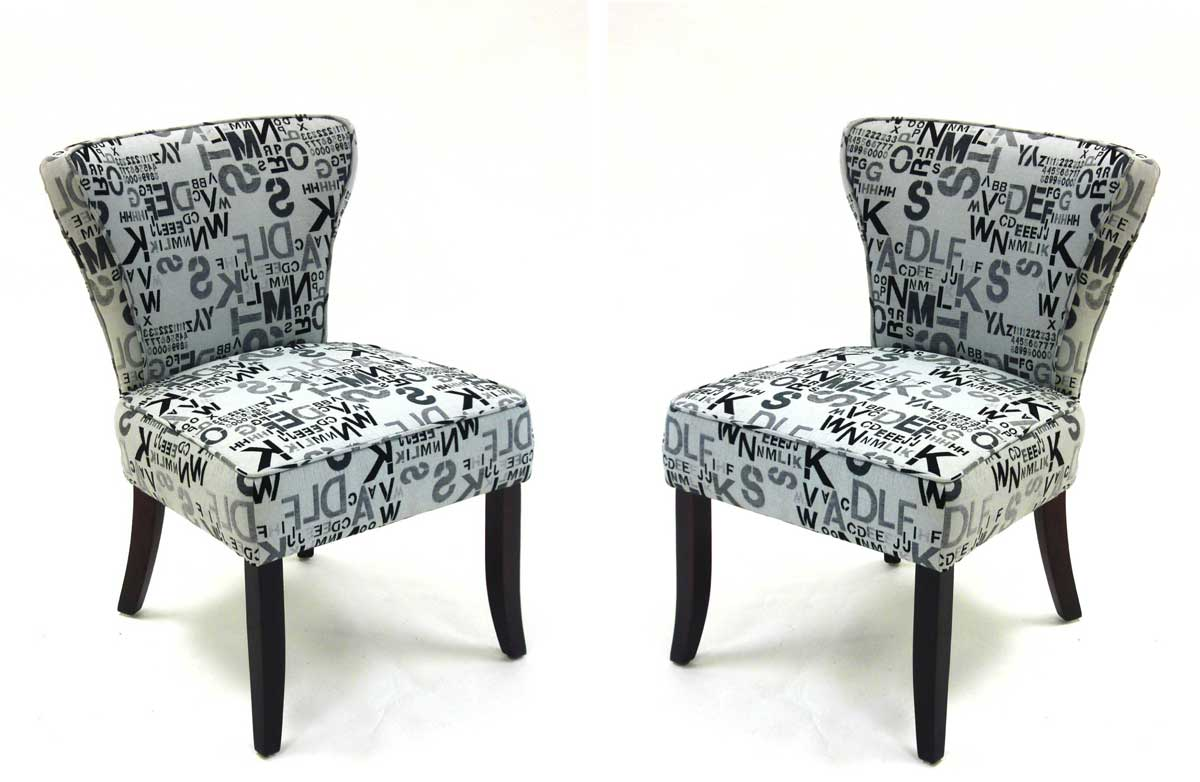 Armen Living Modern Alpha Letters Fabric Accent Chairs - Gray tones