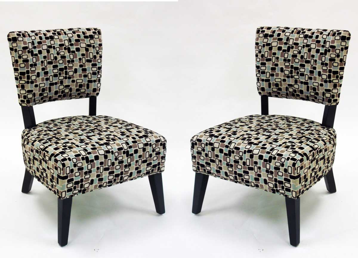 Armen Living Modern Geometric Fabric Accent Chair - Brown tones