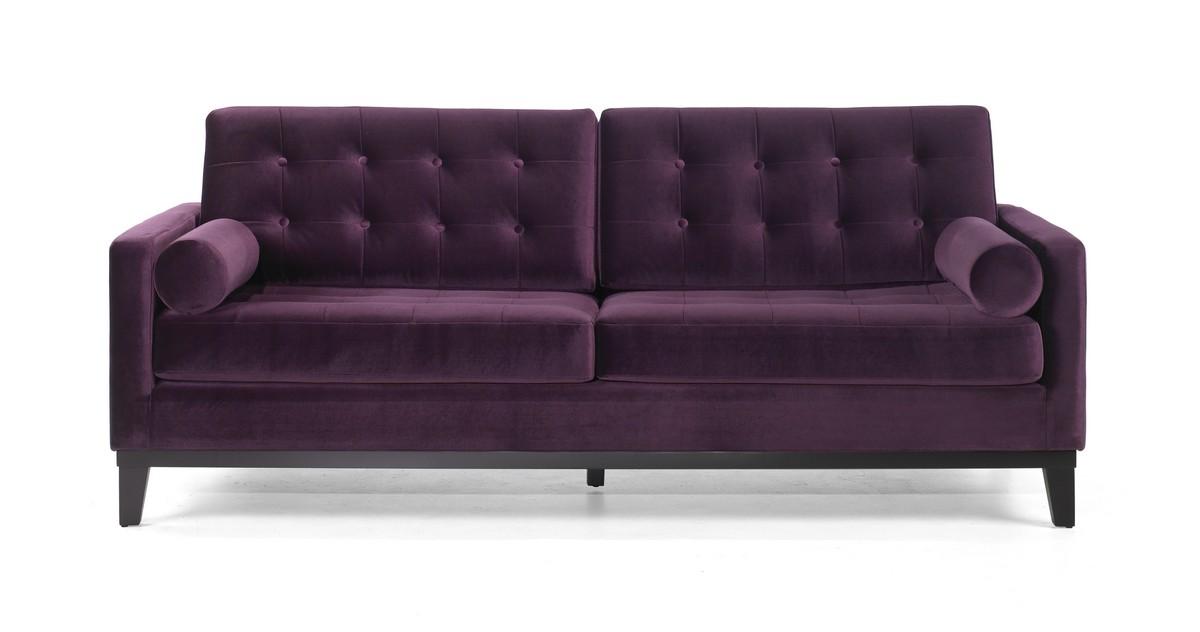 Armen Living Centennial Sofa Purple Velvet