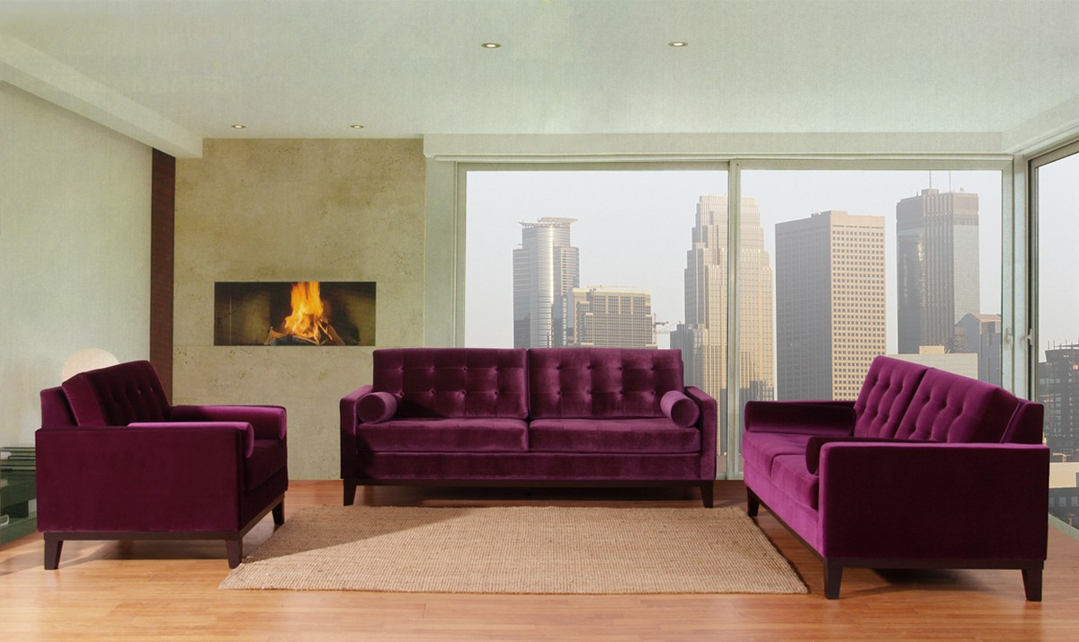 Centennial Purple Velvet Living Room Set Lc7253pu Armen Purple ...