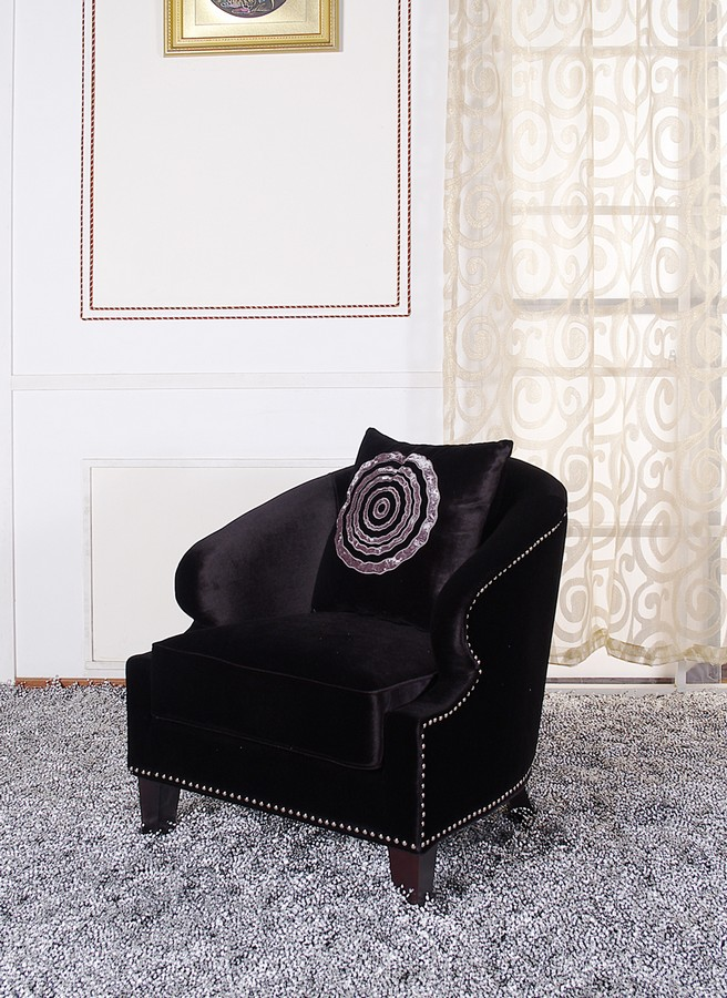 Armen Living Contessa Black Club Chair With Naihead Accents
