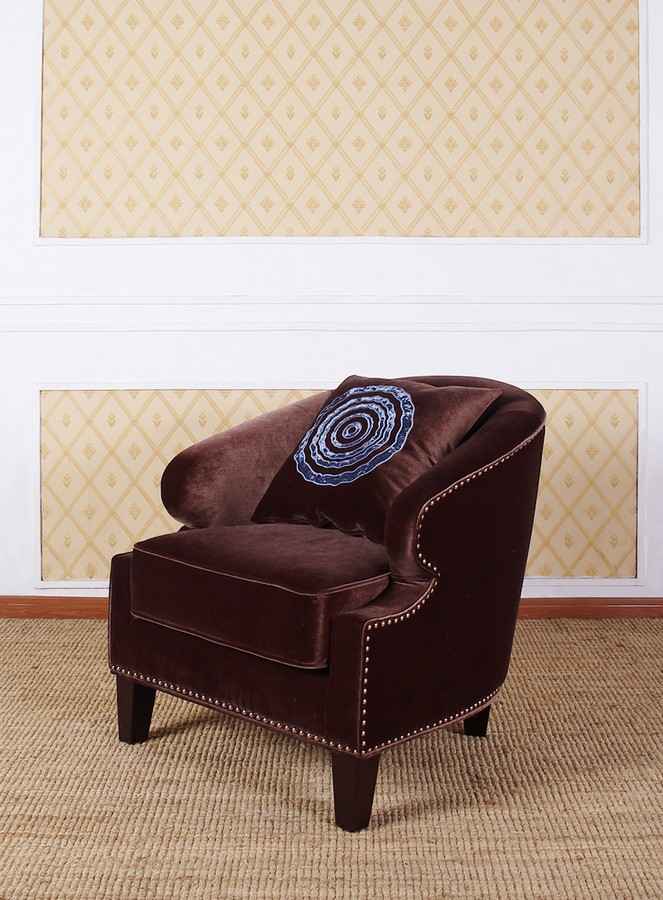 Armen Living Contessa Brown Club Chair With Naihead Accents