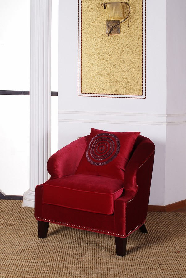Armen Living Contessa Red Club Chair With Nailhead Accents