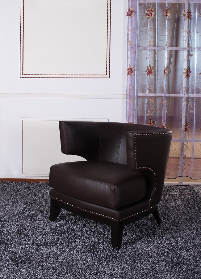 Armen Living Eclipse Club Chair - Brown Vinyl With Nailhead Accents And Espresso Wood Finish