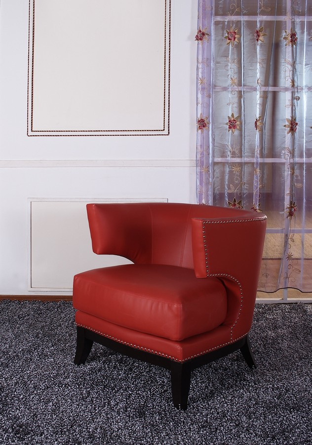 Armen Living Eclipse Club Chair - Red Vinyl With Nailhead Accents And Espresso Wood Finish