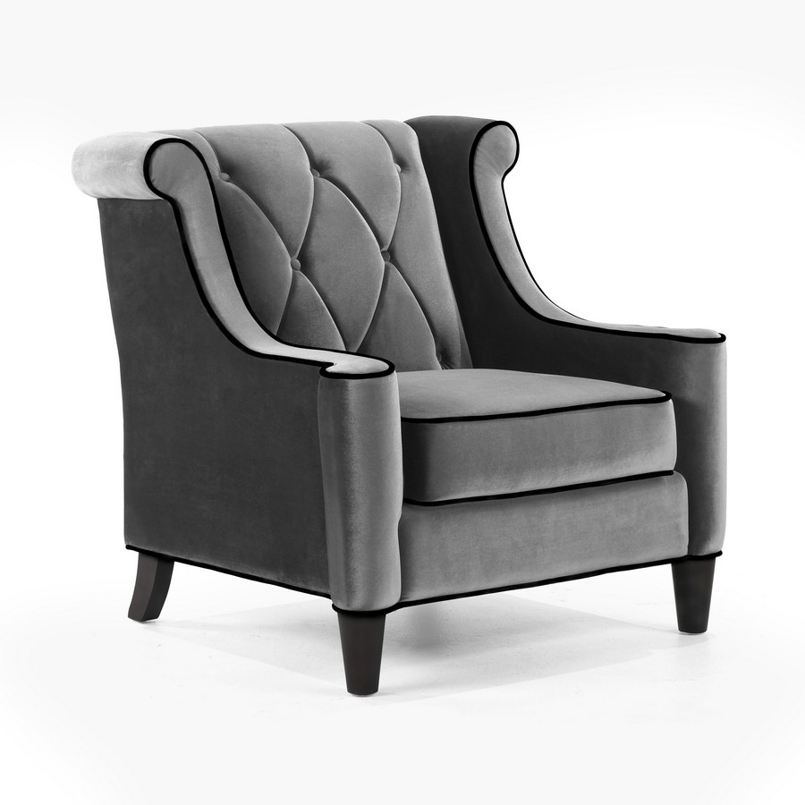 Barrister Sofa Set Gray Velvet - Black Piping - Armen Living