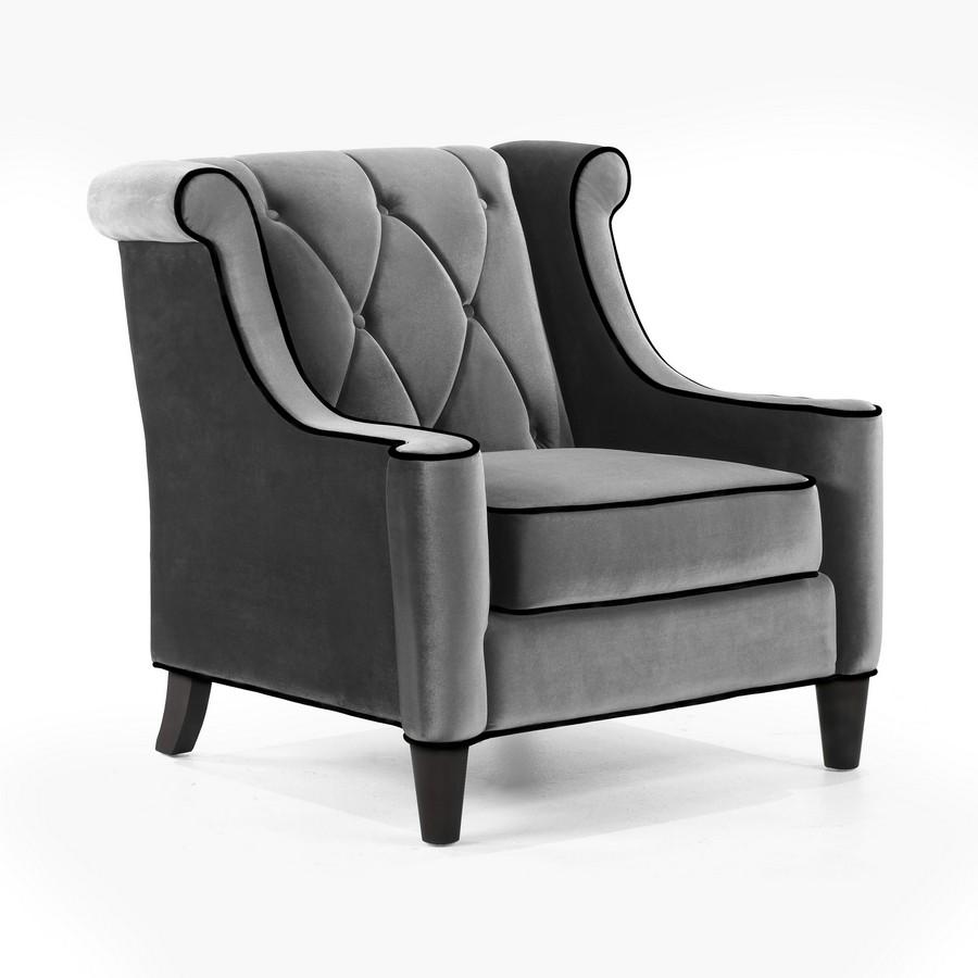 Armen Living Barrister Sofa Set Gray Velvet Black Piping