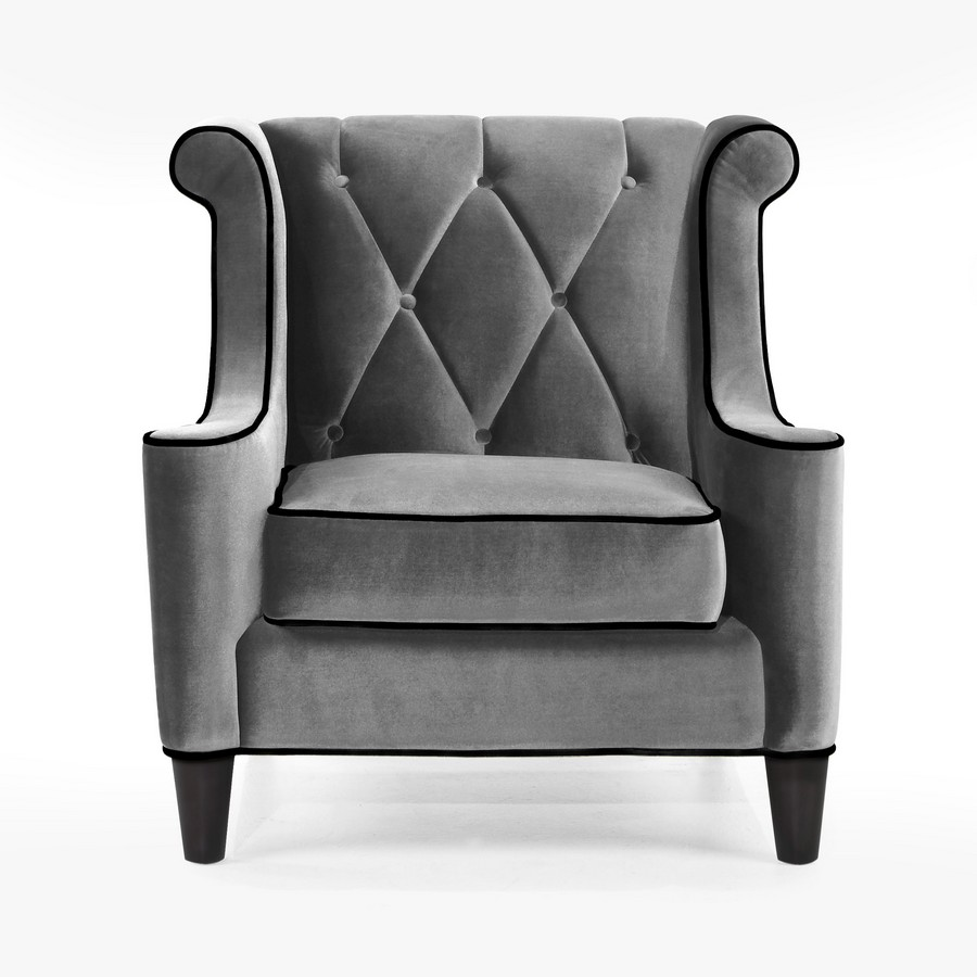 Armen Living Barrister Chair Gray Velvet Black Piping Al