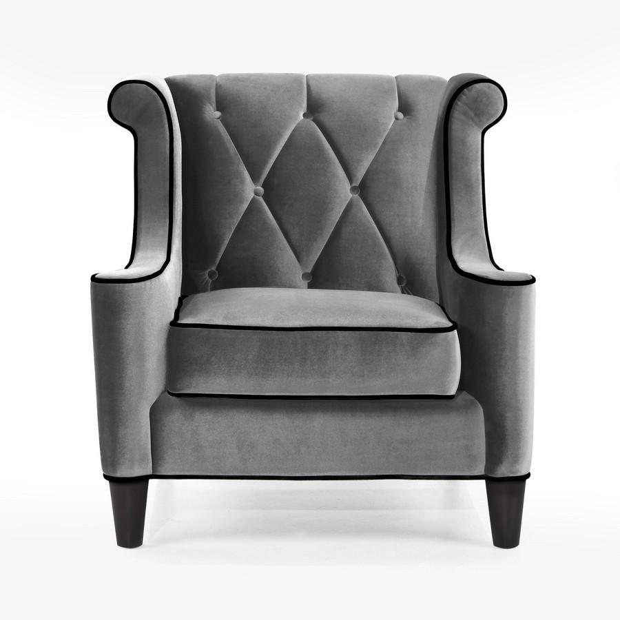 Armen Living Barrister Chair Gray Velvet Black Piping