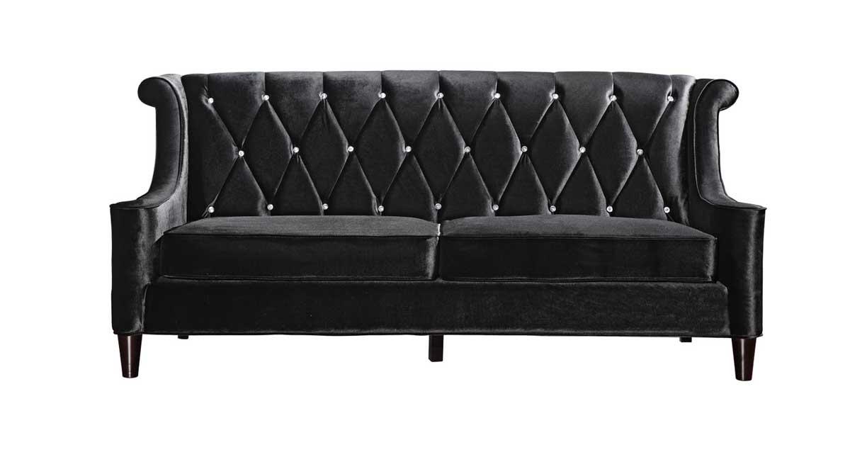 Armen Living Barrister Velvet Sofa - Black