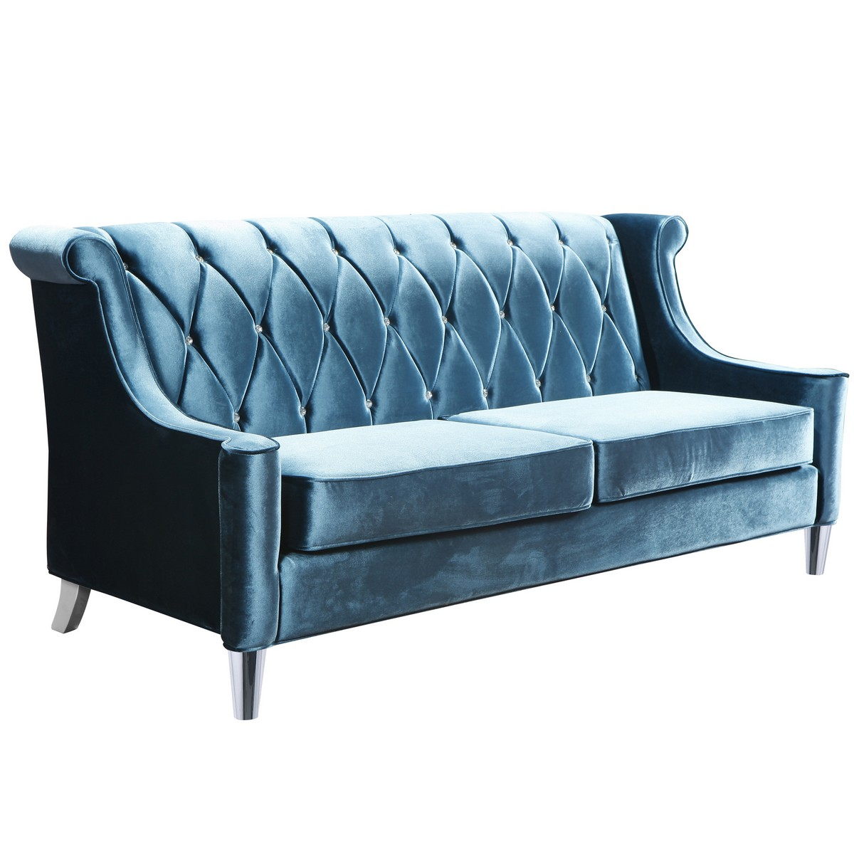 Ordinaire Armen Living Barrister Sofa In Blue Velvet With Crystal Buttons