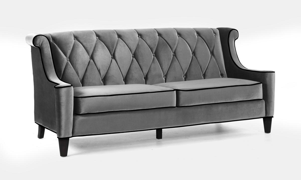 Armen Living Barrister Sofa Gray Velvet Black Piping Al Lc8443gray