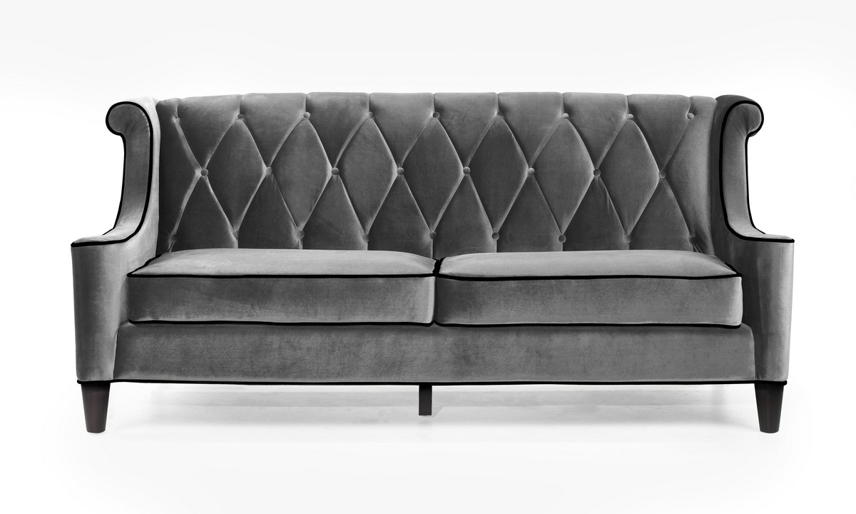 Armen Living Barrister Sofa Gray Velvet Black Piping Lc8443gray: bench sofa